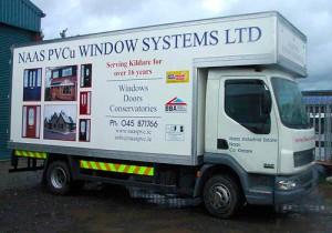 window white truck graphic